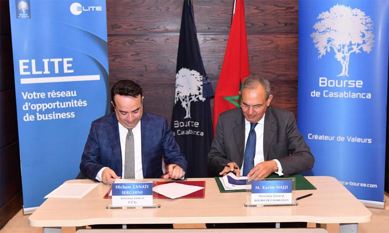 Les patrons de la CCG et de la Bourse de Casablanca scellant leur nouvel accord.