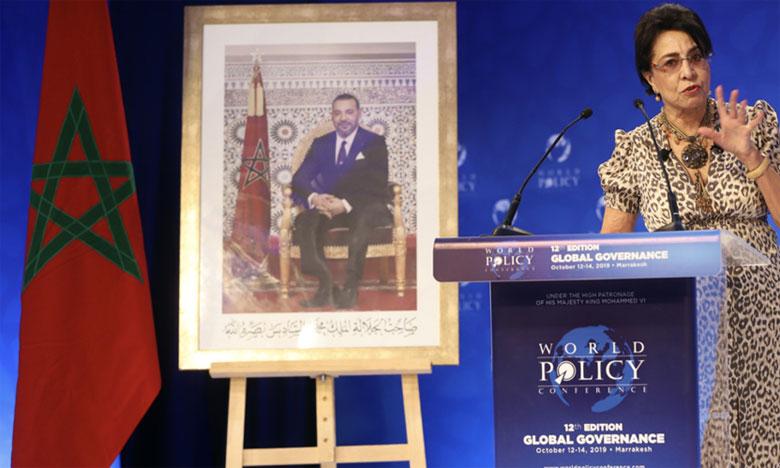 L'ambassadeur itinérant de S.M. le Roi Mohammed VI, Assia Bensalah Alaoui, s'exprimant lors du débat final de la 12e édition de la World Policy Conference lundi dernier à Marrakech.