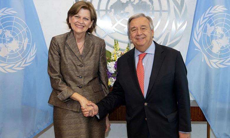 Le Secrétaire général, Antonio Guterres en compagnie de Helen La Lime, Représentante spéciale du Secrétaire général des Nations unies en Haïti (RSSG) . Ph : UN