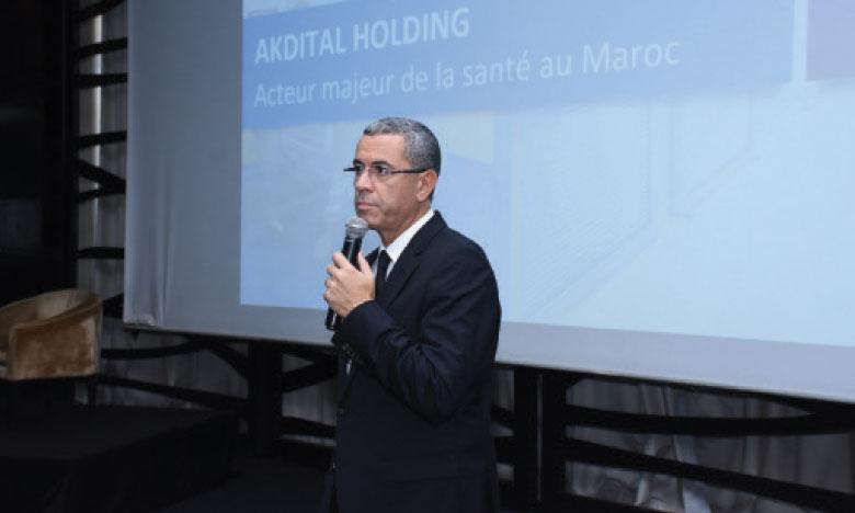 Rochdi Talib, PDG d'Aktidal Holding, s'exprimant lors de la présentation des nouveaux établissements.