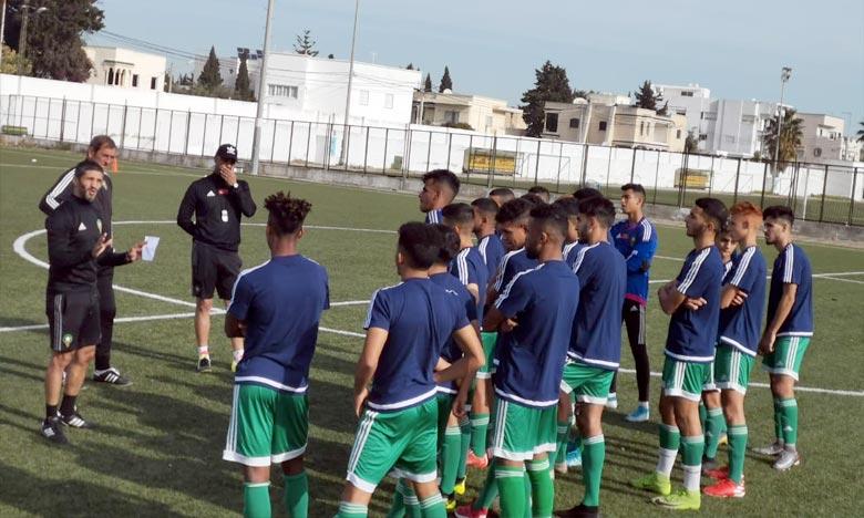 L'équipe nationale U20ans a fait match nul face à son homologue burkinabé en match d'ouverture, au stade du Kram dans la banlieue de Tunis. Ph :  frmf.ma