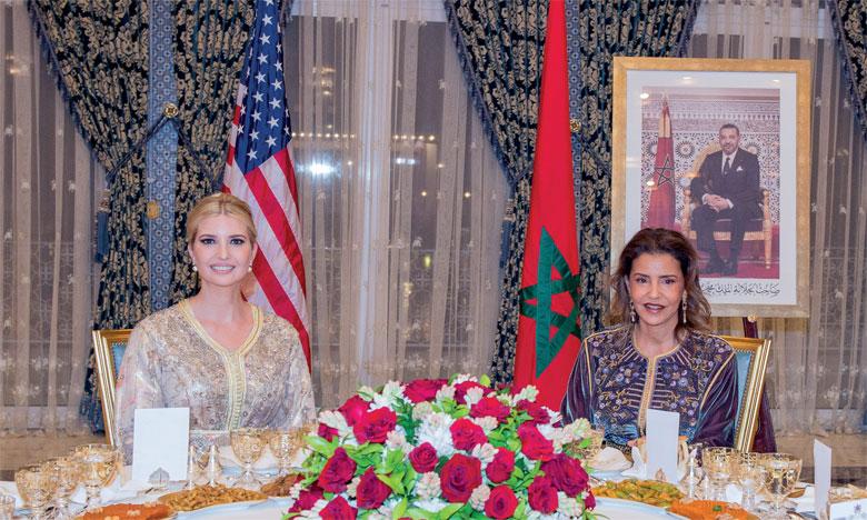 S.M. le Roi offre à Rabat un dîner en l'honneur de Mme Ivanka Trump, présidé par S.A.R. la Princesse Lalla Meryem