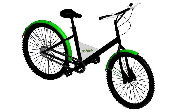 Le vélo Medina est assorti d'une garantie d'un an et est disponible en 4 coloris : vert, bleu, jaune et rouge. Ph. DR