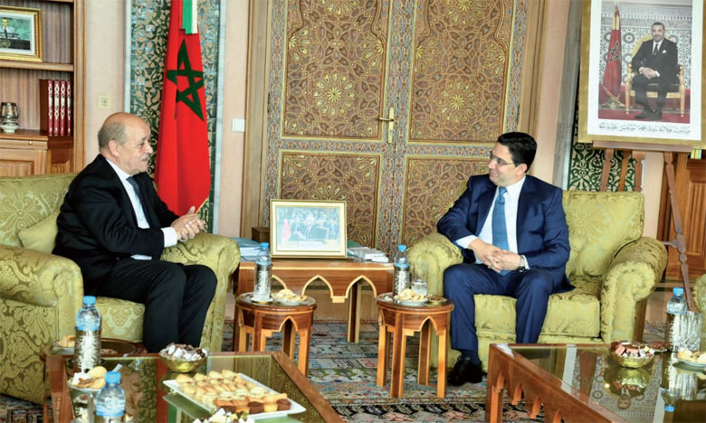 Nasser Bourita reçoit à Rabat le ministre de l'Europe et des affaires étrangères  de la République française,  Jean-Yves  Le Drian