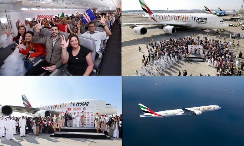 L'A380, revêtu de la livrée spéciale «Diversité», transportait 145 nationalités différentes à son bord. Ph. DR