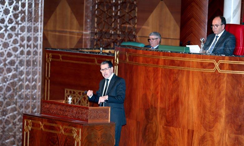 Le chef de gouvernement, Saâd Dine El Otmani, lors d'une séance plénière consacrée à la politique générale du gouvernement, à la Chambre des conseillers. Ph : MAP