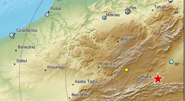 Deux secousses telluriques de magnitudes 5,3 et 4,2 dans la province de Midelt
