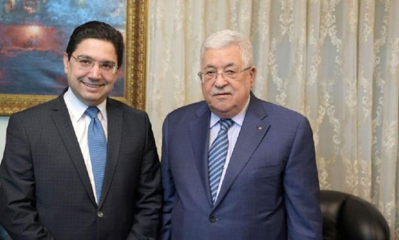 Le Président palestinien Mahmoud Abbas reçoit à Amman Nasser Bourita qui lui a transmis un message verbal de S.M. le Roi