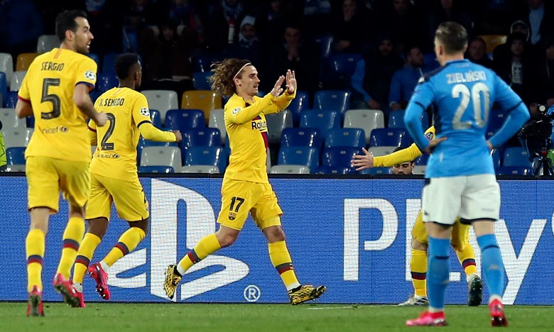 L'attaquant français du FC Barcelone, Antoine Griezmann évite aux Catalans de repartir avec une défaite en huitième aller de LdC, au stade San Paolo de Naples. Ph :  AFP