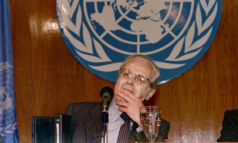 Le diplomate péruvien, Javier Perez de Cuellar a été le cinquième secrétaire général des Nations unies entre 1982 et 1991. Ph :  AFP
