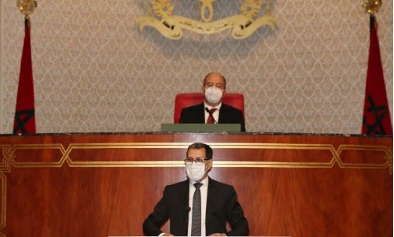 Le Chef du gouvernement, Saâd Eddine El Othmani, intervenant lors d'une séance de politique générale à la Chambre des conseillers.