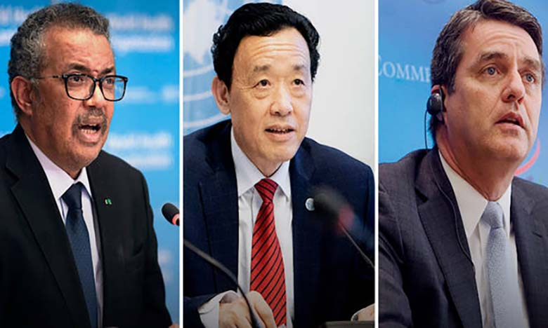 Tedros Adhanom Ghebreyesus, QU Dongyu et Roberto Azevedo, directeurs généraux respectivement de l'OMS, de la FAO et de l'OMC. Ph. FAO.