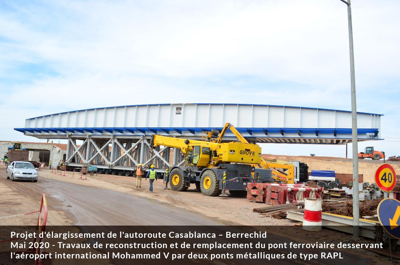 Remplacement du pont ferroviaire desservant l'aéroport Mohammed V : trafic perturbé ce weekend