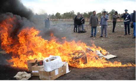 Agadir : Destruction par incinération d'une grande quantité de drogues et de cigarettes de contrebande