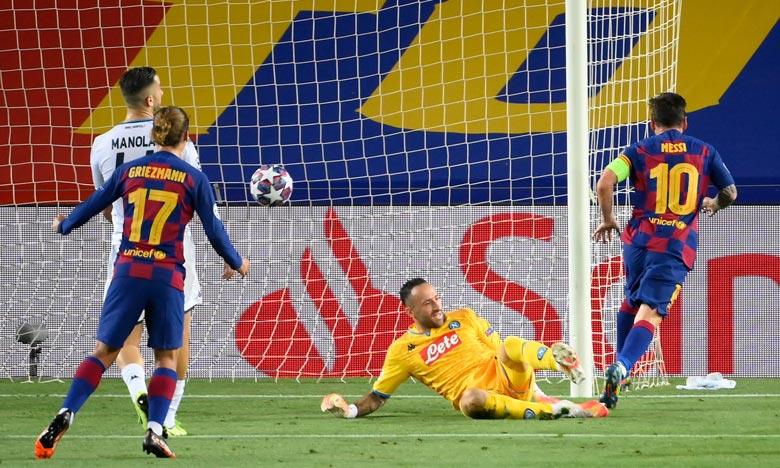 Le Barça a marqué par Lenglet de la tête (10e), Messi (23e) et Luis Suarez sur penalty (45+1). Ph : AFP