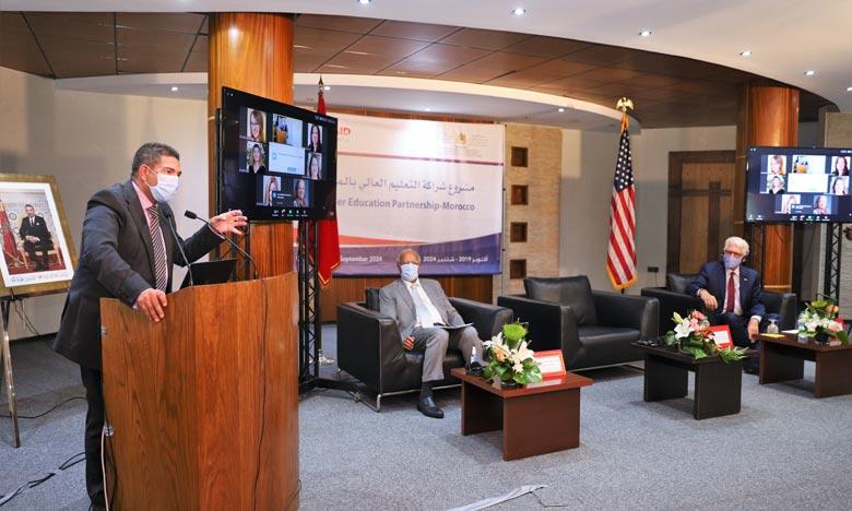 Saaid Amzazi présidant la cérémonie du lancement du programma de partenariat de l'enseignement supérieur  . Ph : MAP
