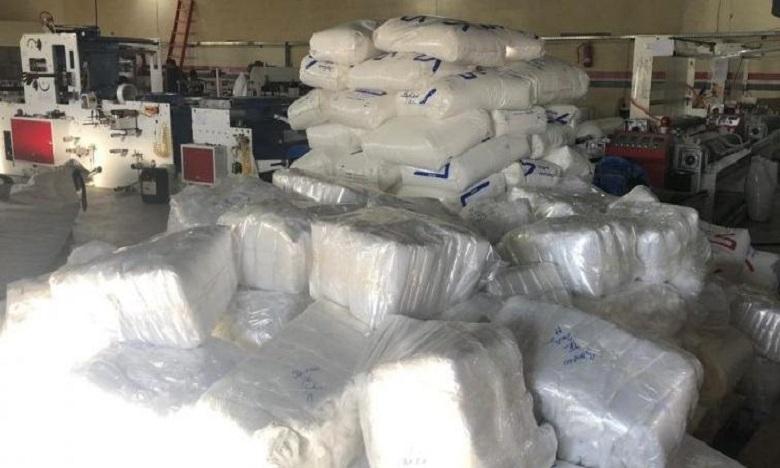 L'opération a permis la saisie de 9 tonnes de sacs en plastique d'une valeur d'environ 400.000 dirhams. Ph:DR.