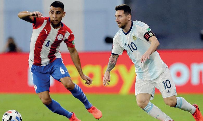 Lionel Messi, capitaine de l'Argentine, lors du match face au Paraguay.