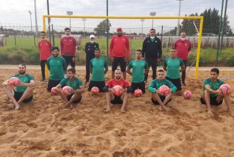 La sélection nationale de beach-soccer en stage de préparation
