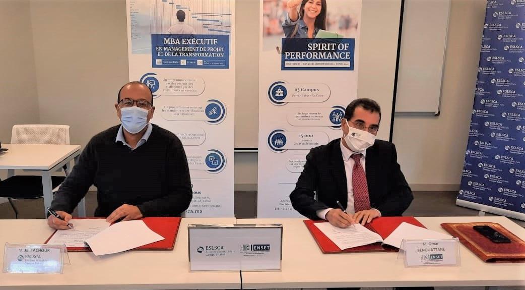 Signature d'un partenariat académique entre ESLSCA Rabat et l'ENSET Mohammedia