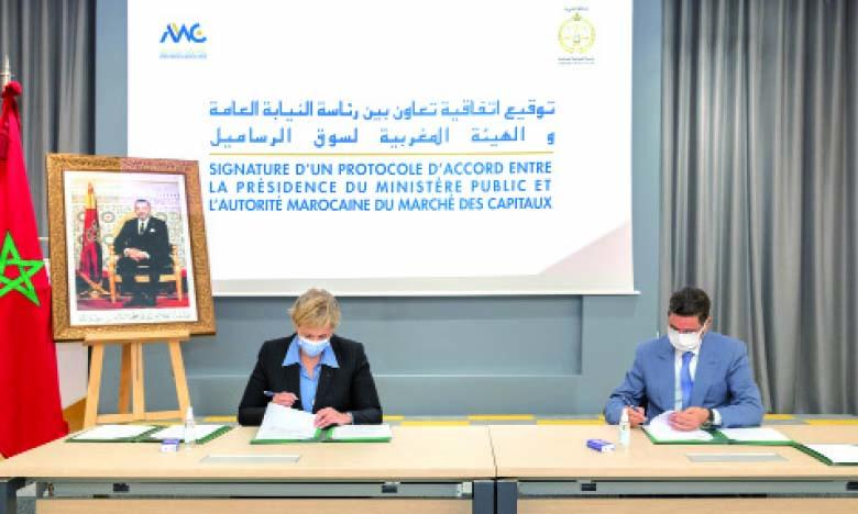 Signature d'un protocole d'accord entre l'AMMC et la présidence du ministère public.