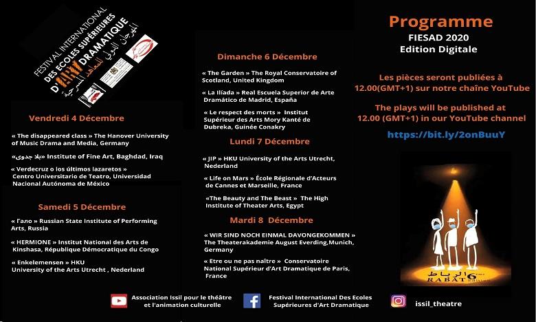 Festival international des écoles supérieures d'art dramatique: L'édition 2020 en mode virtuel
