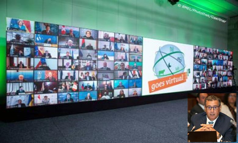 Aziz Akhannouch a partagé avec 28 ministres, fonctionnaires, chefs de mission et organisations internationales, l'expérience du Maroc en matière de lutte contre le changement climatique. Ph : DR