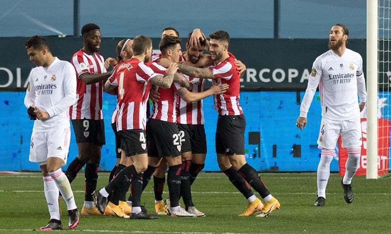 La joie des joueurs de l'Athletic Bilbao sur l'ouverture du score contre le Real Madrid par Raul Garcia en Supercoupe d'Espagne à Malaga. Ph :  AFP