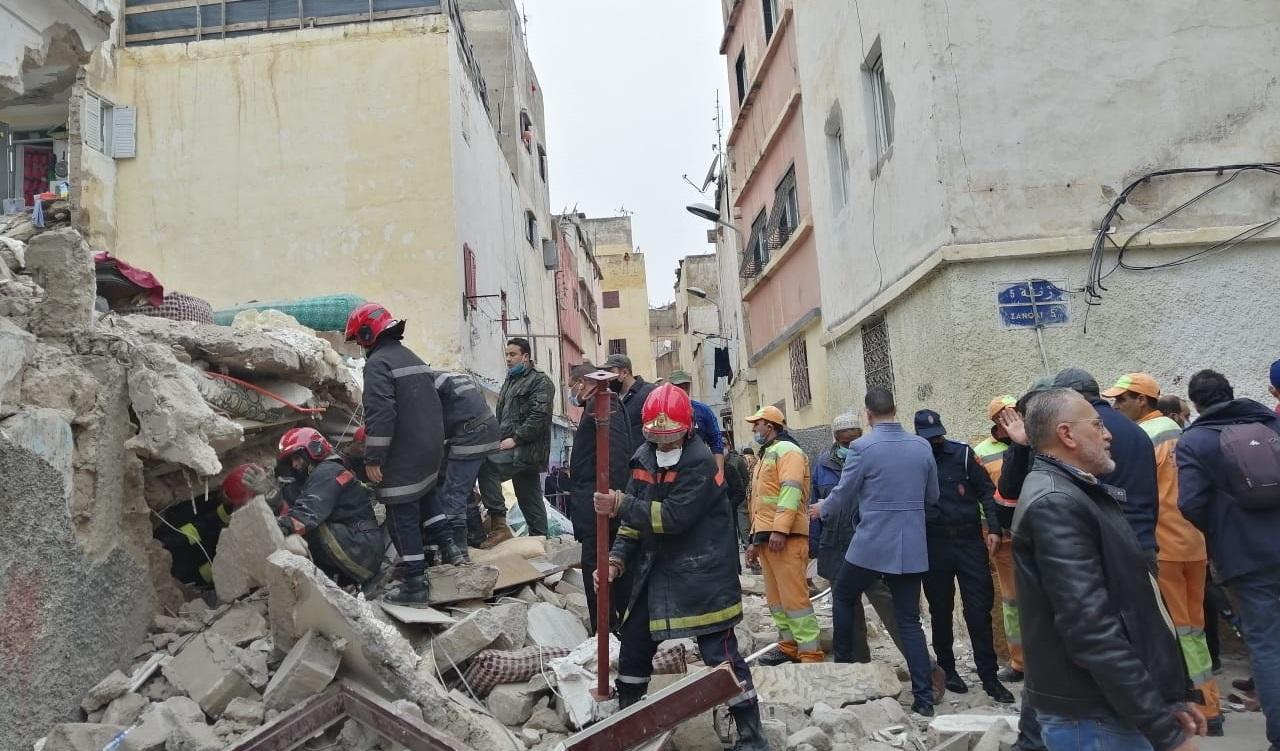 Casablanca: effondrement d'une maison menaçant ruine et inoccupée à l'ancienne médina
