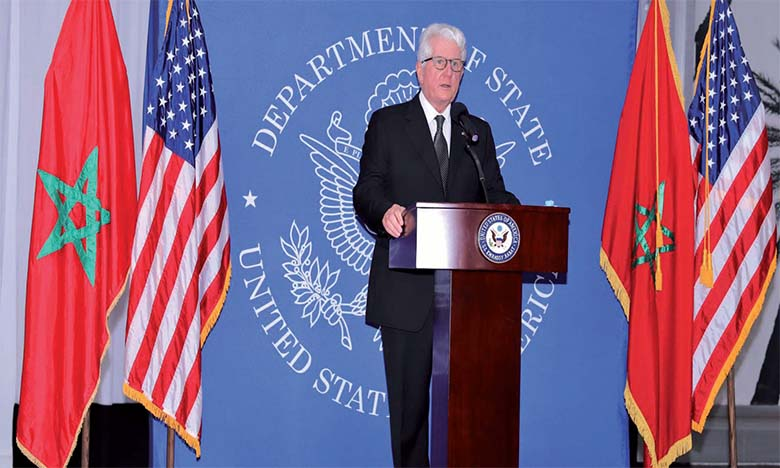 L'ambassadeur des États-Unis à Rabat, David T. Fischer, tenant son dernier point de presse en tant qu'ambassadeur. Ph. MAP