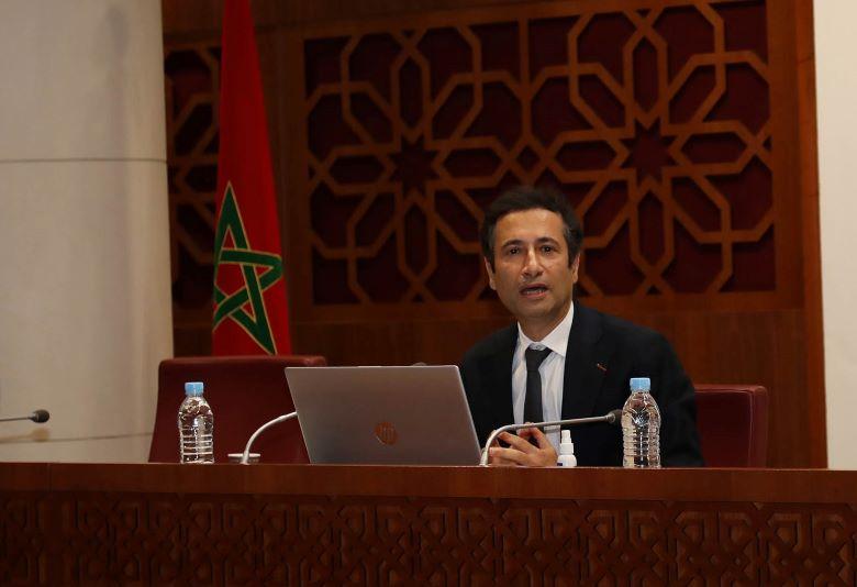 Mohammed Benchaâboun présentant le projet de loi cadre 09.21 relatif à la protection sociale devant la Commission des finances, de la planification et du développement économique à la Chambre des conseillers. Ph : MAP