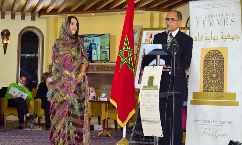La présidente de la Région Guelmim-Oued Noun, Mbarka Bouaida, a souligné que cet évènement est l'occasion de mettre l'accent sur le travail accompli par l'Association Bouabate Fès. Ph : DR