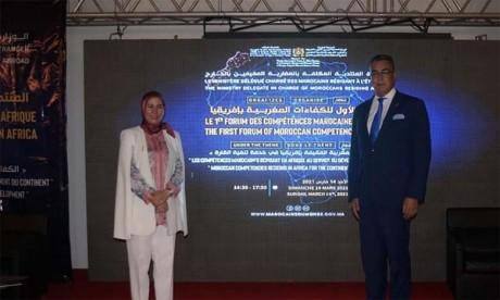Nezha El Ouafi et l'ambassadeur du Maroc en Côte d'Ivoire.