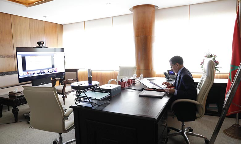 Saâd-Eddine El Otmani, préside, par visioconférence, la réunion hebdomadaire du Conseil de gouvernement. Ph : MAP
