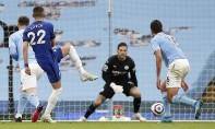 Raheem Sterling a ouvert le score pour Manchester City avant que le Marocain Hakim Ziyech n'égalise grâce à une demi-volée. Ph :  AFP