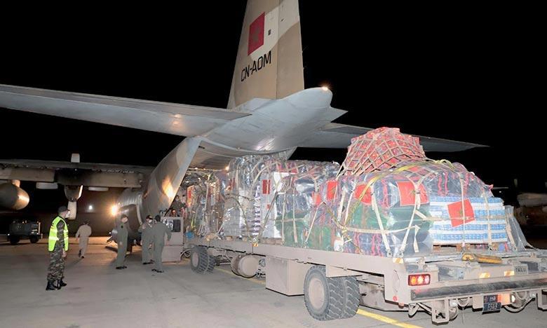 L'aide a été acheminée par avion jusqu'à l'aéroport international Marka à Amman en Jordanie avant d'entrer par voie terrestre via le passage frontalier entre la Jordanie et la Palestine. Ph : MAP