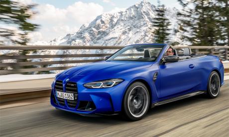 Que la capote soit déployée ou non, les lignes dynamiques de la carrosserie apportent une touche distinctive d'élégance et de sportivité à la nouvelle BMW M4 Competition M xDrive Cabriolet.