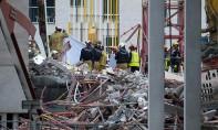Les secours s'activent pour retrouver les ouvriers disparus dans les décombres de l'effondrement partiel du chantier d'une école à Anvers, en Belgique. Ph :  AFP