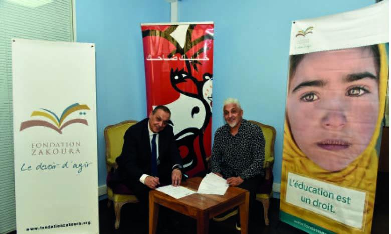 Signature de la convention entre les Fromageries  Bel Maroc et la Fondation Zakoura.