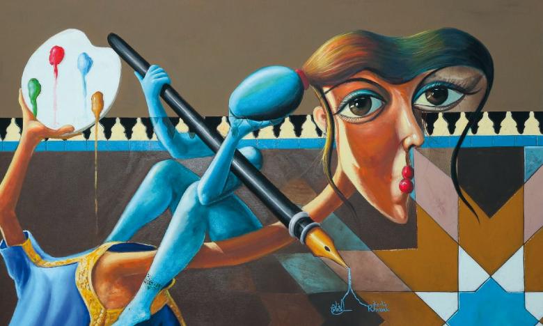 Peinture commune des deux artistes.