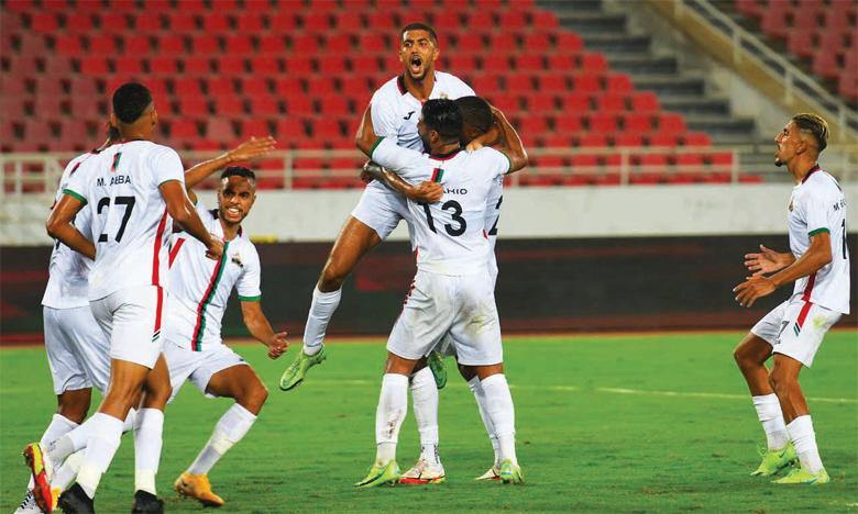 Les joueurs de l'AS FAR célébrant leur victoire sur les Béninois Buffles de Borgou au premier tour préliminaire de la Coupe de la CAF.