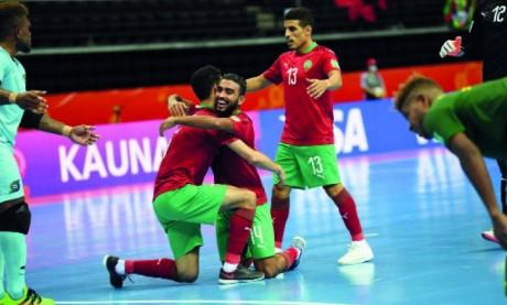Les Lions de l'Atlas célébrant le troisième but, œuvre de Driss Raïss El Fenni à la 18e minute.