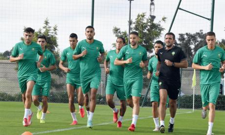 Séance d'entraînement des Lions de l'Atlas au Complexe Mohammed VI de football lors du rassemblement du mois de septembre.