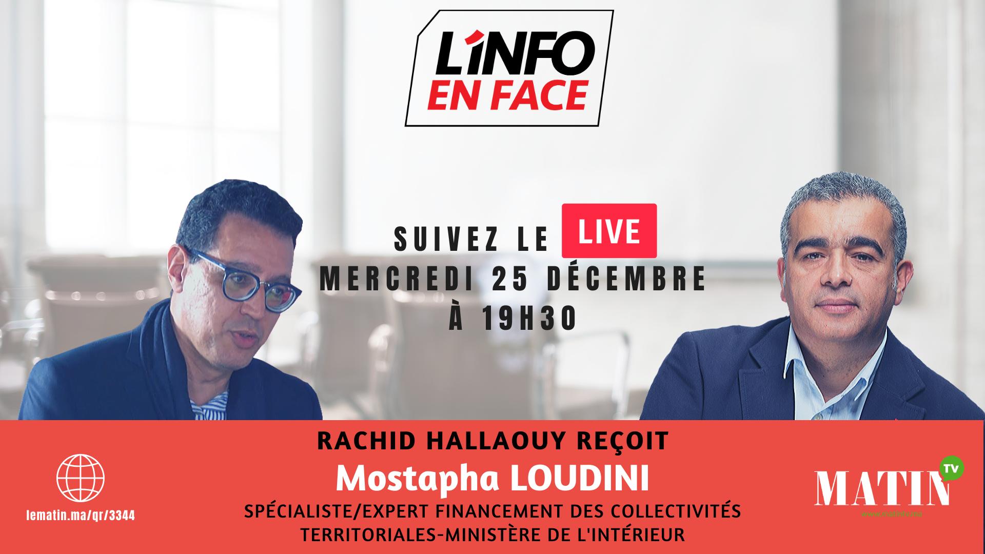 Live : L'Info en Face spécial CNRA avec Mostapha Loudini