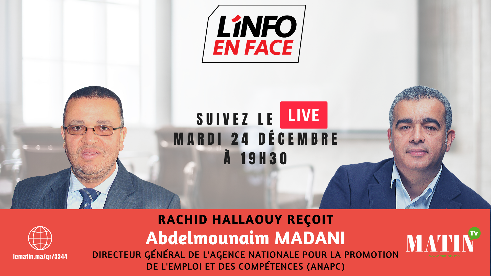 Live : L'Info en Face spécial CNRA avec Abdelmounaim Madani