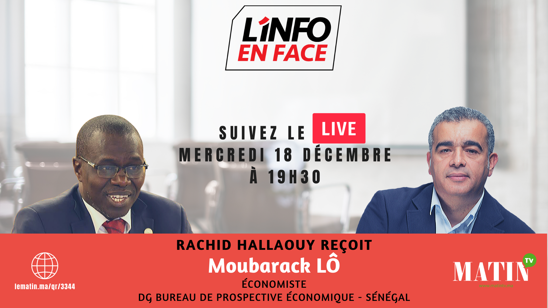 Live : L'info en Face avec Moubarak Lo