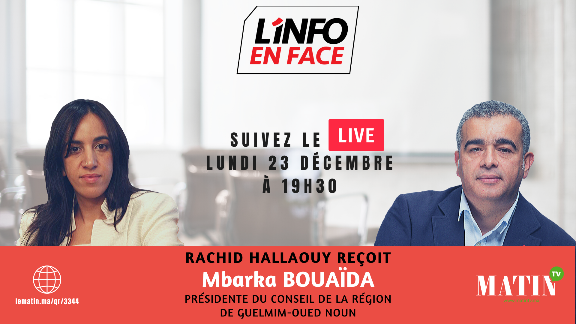 Live : L'Info en Face spécial CNRA avec Mbarka Bouaïda