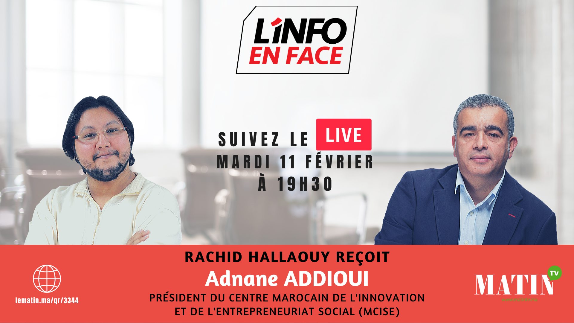 Live : L'Info en Face avec Adnane Addioui