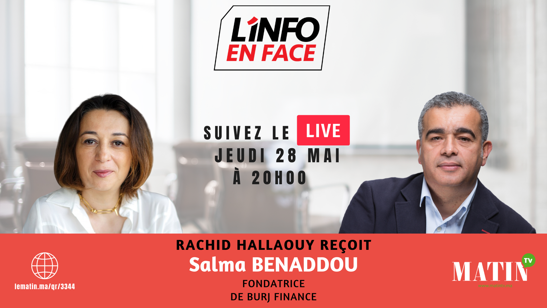 Live : L'Info en Face avec Salma Benaddou
