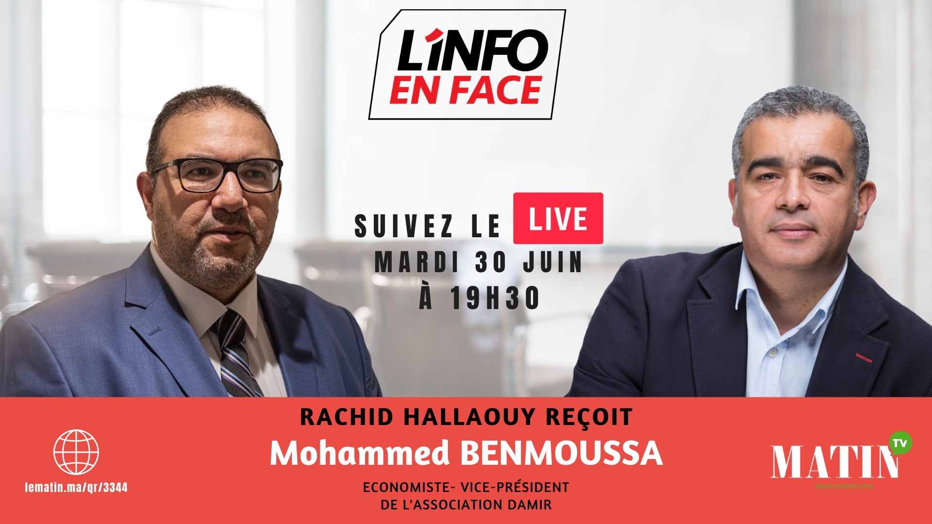 Live : L'Info en Face avec Mohammed Benmoussa